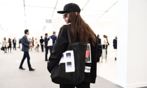 A visitor to Frieze in New York, 2017.
