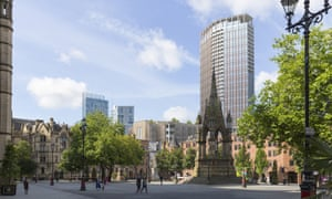 An artist's impression of the new St Michael's development planned for Manchester city centre.