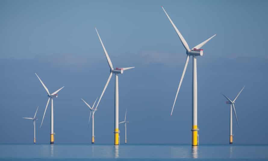 Wind turbines off the coast of Barrow-in-Furness.