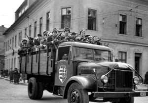 A lorry full of enthusiastic young partisans with weapons, supplied by the Hungarian army, who were loosely organised into a resistance movement