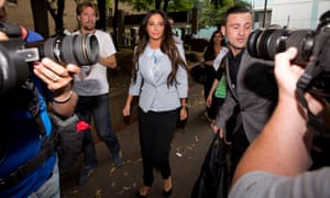 Tulisa Contostavlos leaves Southwark crown court in July 2014 after the collapse of her trial.