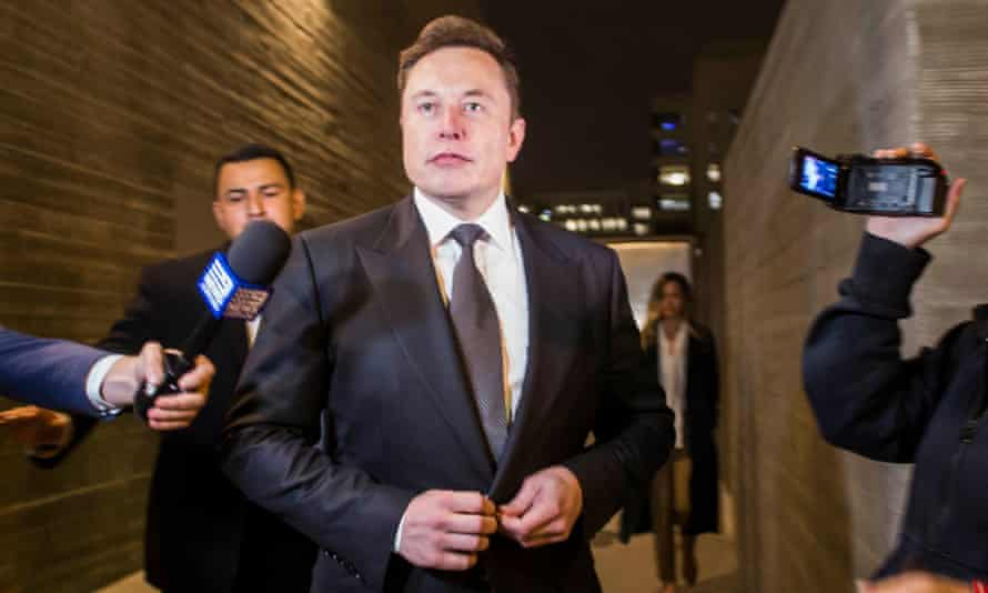 Elon Musk, Tesla's chief executive, outside court in Los Angeles