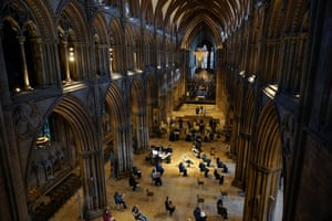 Lichfield, UK. Lichfield Cathedral is one of many unusual venues that have been adapted for administering vaccinations during the pandemic