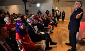 Gordon Brown speaking at a Labour rally in Glasgow, Scotland.