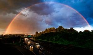 Dortmund, Germany A rainbow brightens the sky over Dortmund