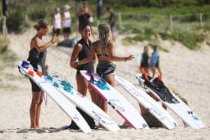 Women surfing at Boomerang beach