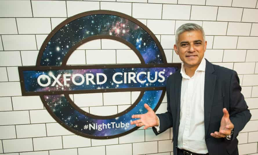 Sadiq Khan and night tube logo