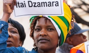 Zimbabwean protesters in London demand the releas of democracy activist Itai Dzamara.