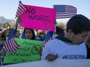 Anti-Trump marchers in El Paso, near Trump's rally.