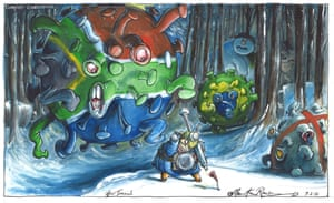 Martin Rowson cartoon 9.2.21: Johnson menaced by huge South African virus molecule