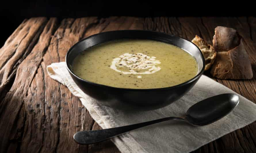 Broccoli and blue cheese soup.