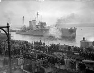 HMS Exeter coming alongside at Plymouth in February 1940.