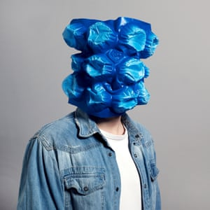 Photographer Sebastian Schramm takes improvised portraits of colleagues using objects found in the office such as packaging, elastic bands and Post-it notes.