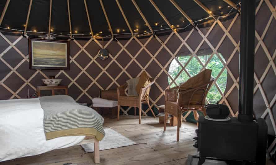 The pub has three yurts in its riverside garden
