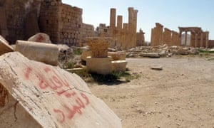 A general view taken on Sunday shows part of the ancient city of Palmyra, after government troops recaptured the UNESCO world heritage site.
