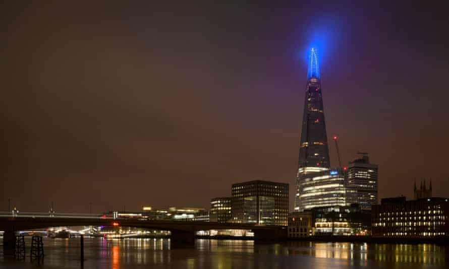 The Shard illuminated blue on Friday evening as part of the NHS birthday celebrations.