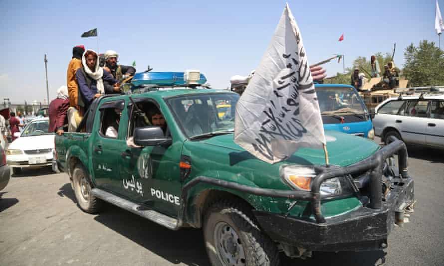Taliban fighters patrolling in Kabul, Afghanistan, 16 August 2021