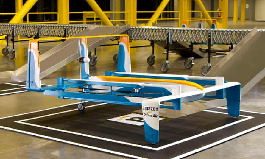 Amazon's prototype delivery drone could travel up to 15 miles at high speed.