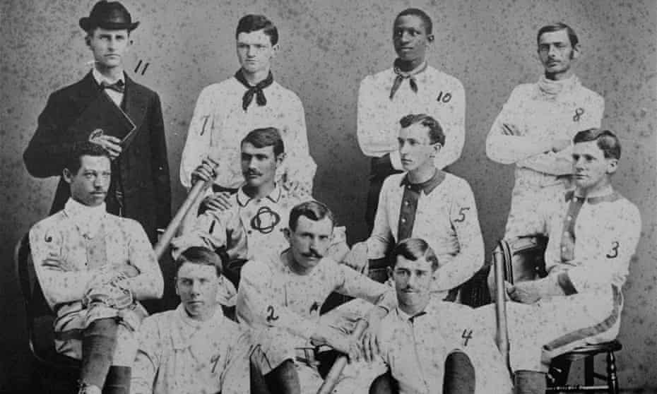 Moses Fleetwood Walker (middle row, left) and his brother Weldy (second from right, top row) during their time together on the Oberlin College baseball team.