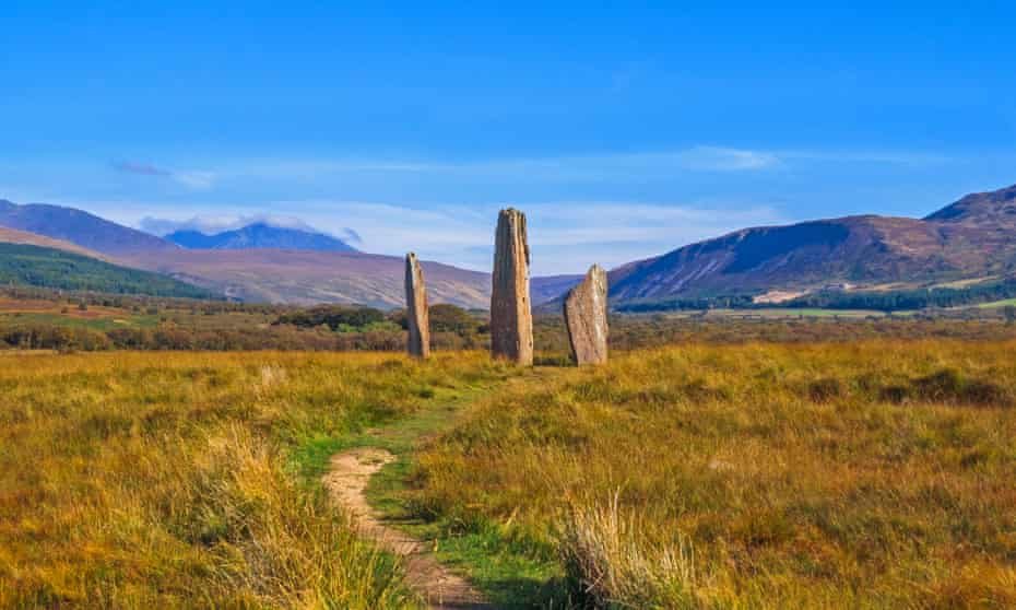 Neolithic standing stones on Machrie Moor on the Isle of Arran.