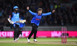 Sussex Sharks bowler Will Beer celebrates as he gets Moeen Ali of Worcestershire Rapids out.