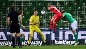 Mitchell Weiser powers in a header past Pavlenka for Leverkusen's third.