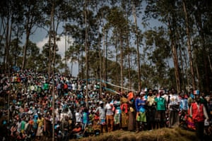 Supporters attend a campaign rally supporting Rwandan president Paul Kagame