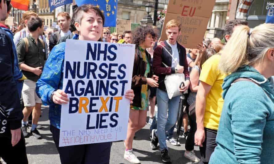 A nurse on a demo in London in July 2016