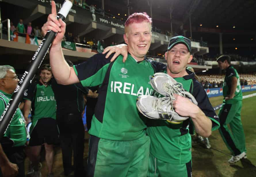 Kevin O'Brien of Ireland celebrates with Niall O'Brien of Ireland at the end of the match during the 2011 ICC World Cup Group B match between England and Ireland at the M. Chinnaswamy Stadium on March 2, 2011 in Bangalore, India.