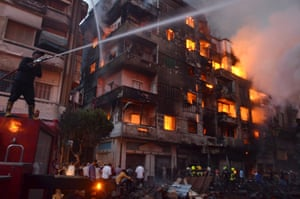 Cairo, Egypt: Firefighters try to extinguish a blaze