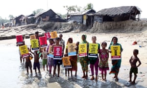 Victims of climate change and rising sea levels demand justice for climate refugees, in Kutubdia Island, Bangladesh