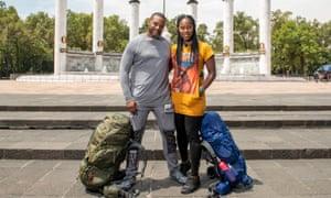 Bonding with backpacks … Shuntelle and Michael.