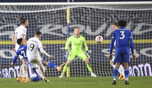Leeds United's Pablo Hernandez curls the ball against the bar.