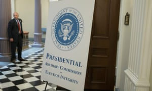 A sign outside the first meeting of the Presidential Advisory Commission on Election Integrity, at the Eisenhower Executive Office Building (EEOB) on the White House complex in Washington, DC, USA, 19 July 2017.