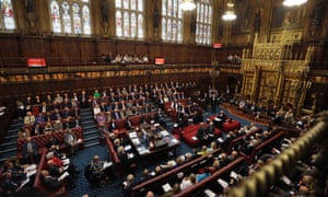 A general view shows the House of Lords chamber in session