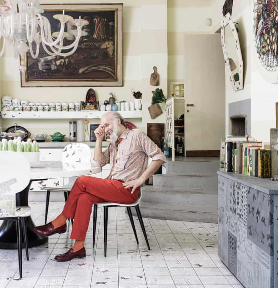 Barnaba Fornasetti in his butterfly motifed kitchen.
