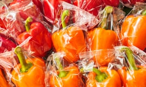 Plastic wrapped bell peppers