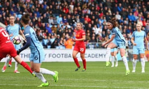 Manchester City's Melissa Lawley hammers in the winner against Liverpool Ladies in the FA Cup semi-final at the Academy Stadium.