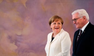 The German president, Frank-Walter Steinmeier, pictured with Angela Merkel, was not 'amused' by Boris Johnson.