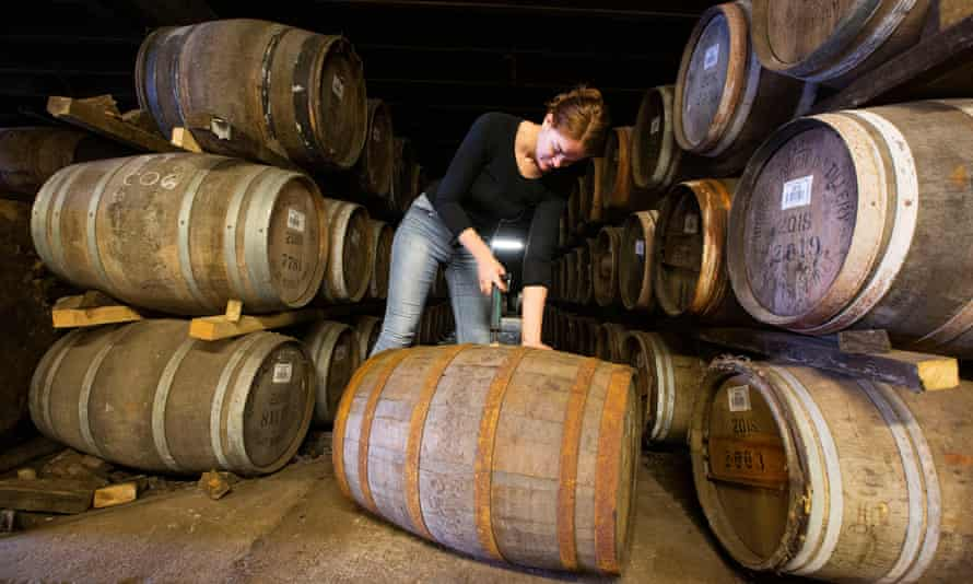 Christy McFarlane, global brand manager, samples the product at the Bruichladdich Distillery on Islay.