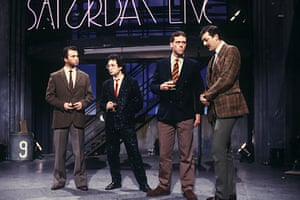 The Motormouth years … Elton, second left, with Harry Enfield, Hugh Laurie and Stephen Fry on Saturday Live in 1985.