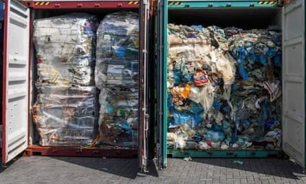 Plastic waste ready for inspection before being sent to Malaysia; the UK produces more refuse than it can process at home – about 1.1kg per person per day.