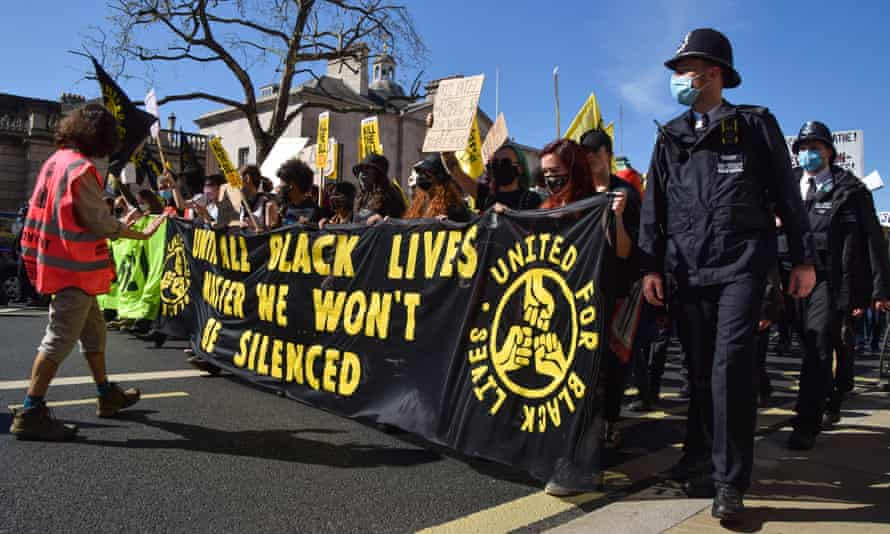 Kill the Bill and BLM protesters in London, 17 April.