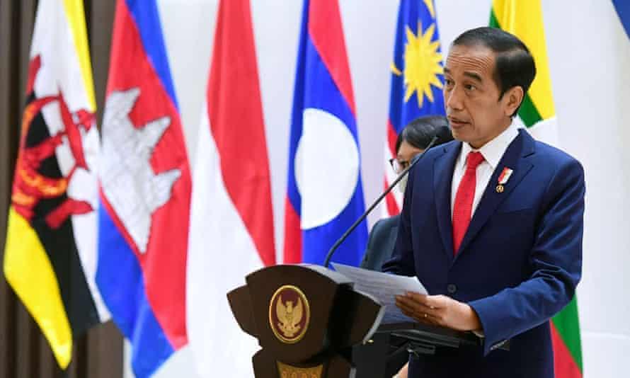 Joko Widodo speaks after the Asean crisis talks in Jakarta