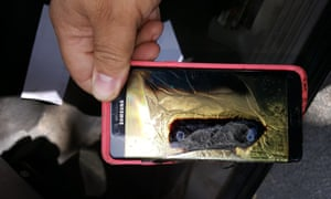 A melted Samsung Galaxy Note 7 phone.