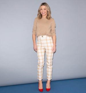 Jess Cartner-Morley in Rupert Bear trousers