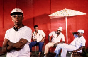 Spike Lee poses for a photo on the set of Do the Right Thing, his 1989 comedy-drama.