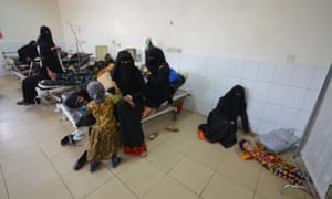 A girl infected with cholera lies on the floor of a hospital room in the port city of Hodeidah, Yemen