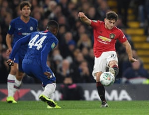 Daniel James of Manchester United has a pop at goal.