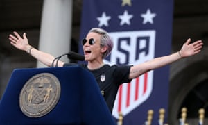 Megan Rapinoe speaks at New York City Hall after the ticker-tape parade for the United States women's national soccer team on 10 July.